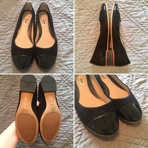 Clarks Narrative Black Ballet Flats Size 8